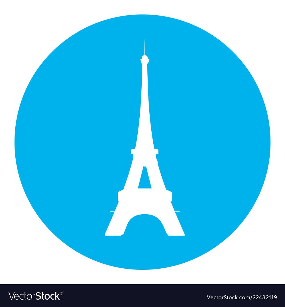Eiffel tower blue icon