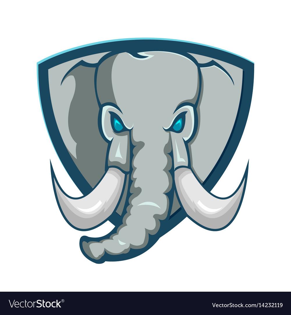 Elephant shield logo cartoon symbol