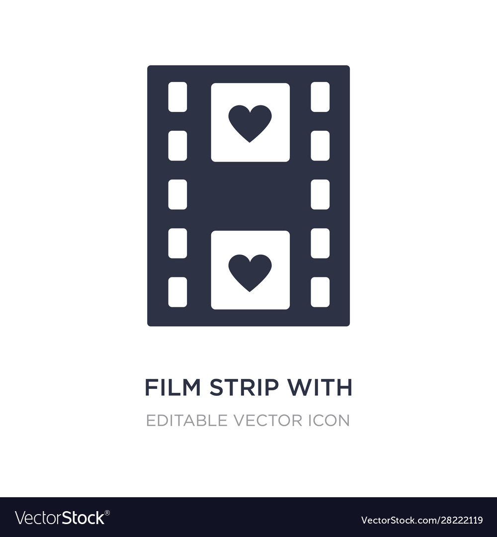 film strip with heart icon on white background vector image film strip with heart icon on white background vector image