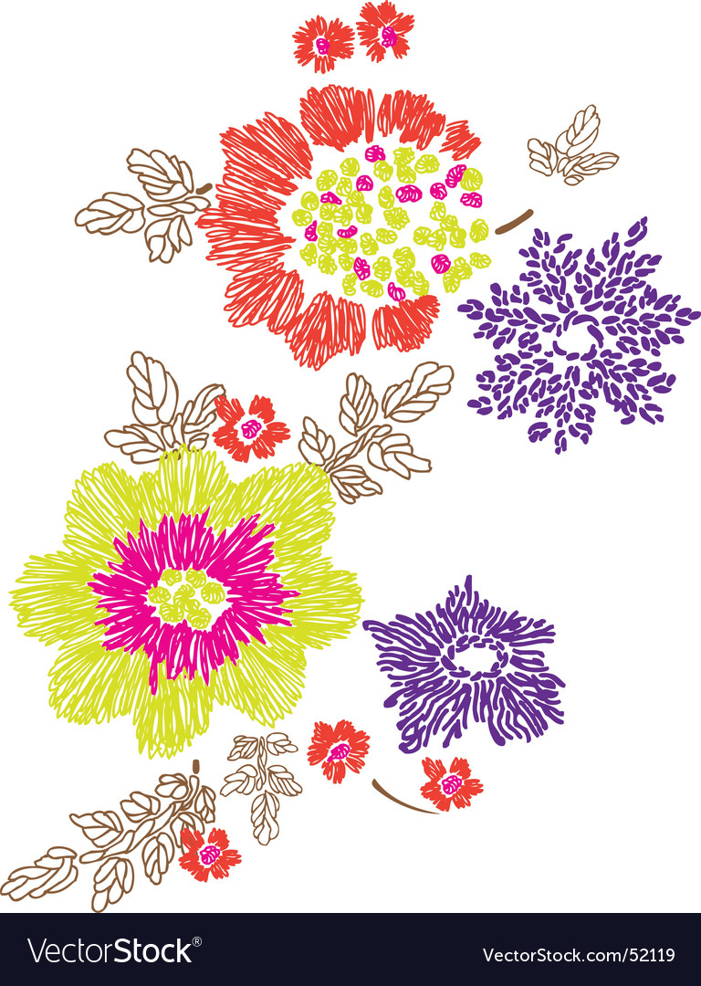 Floral Embroidery Design Royalty Free Vector Image