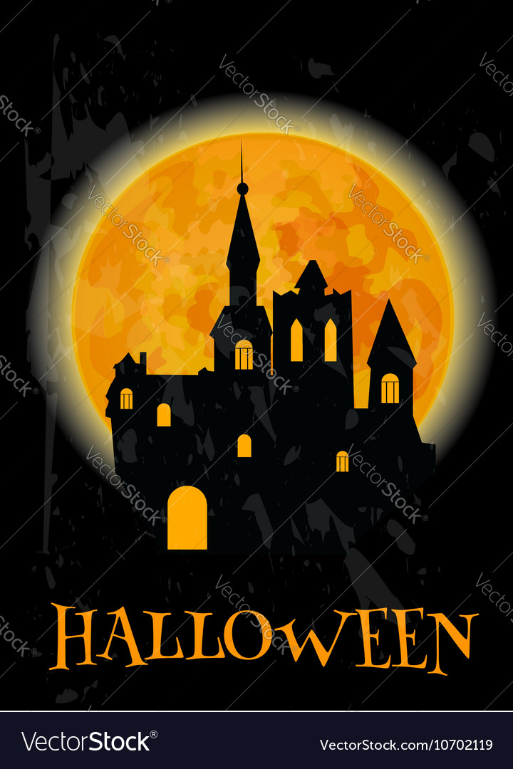 Haunted castle and full moon Halloween poster