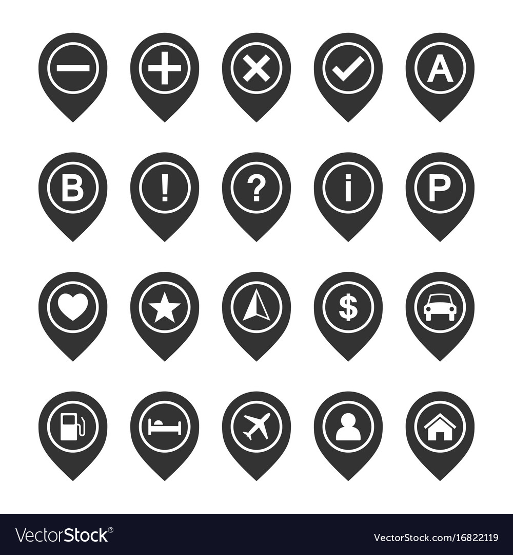 icon set of map pins or pointers place location vector image