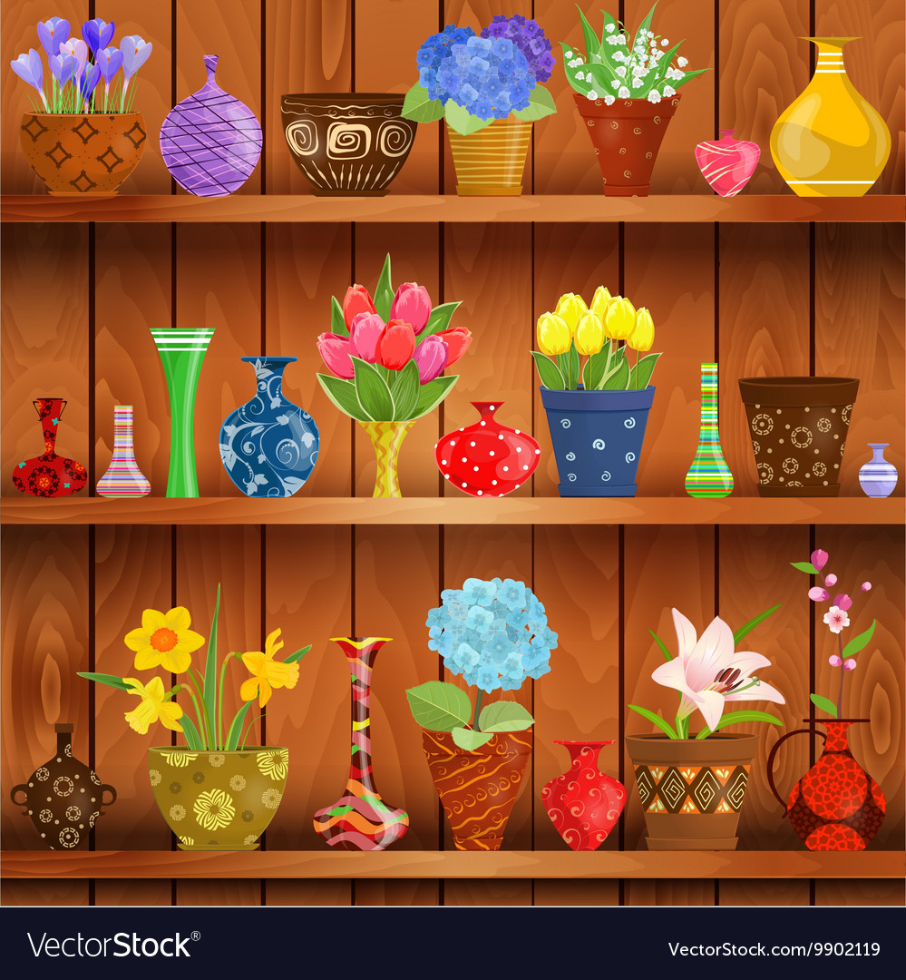 Rustic interior with glass vases and flowers vector image