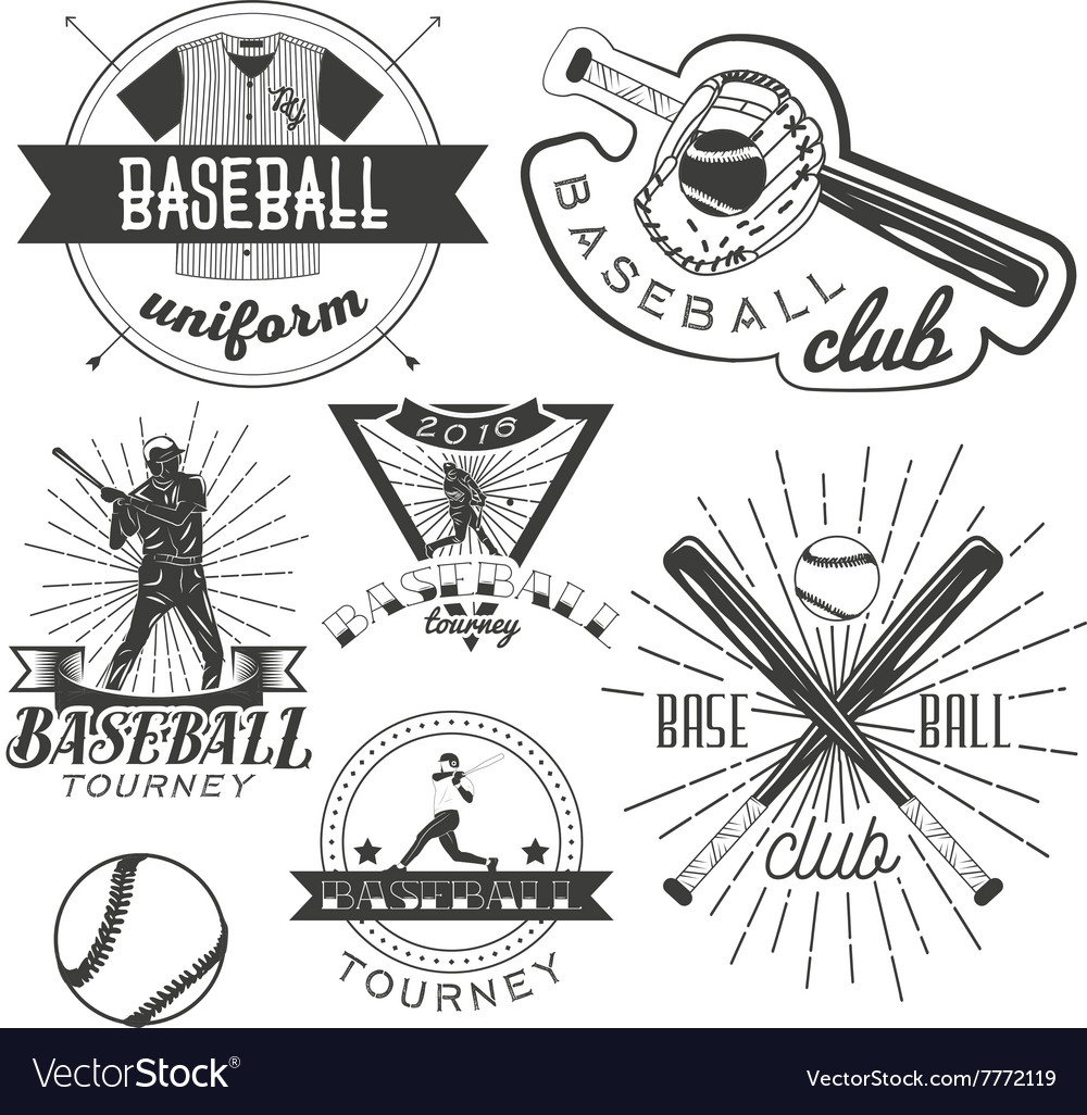 Set of baseball labels in vintage style