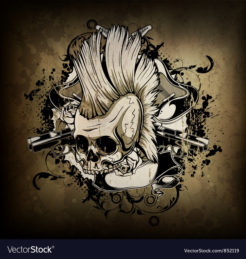 Skull with grunge vector image
