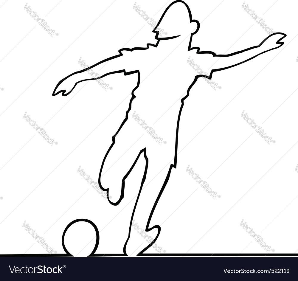 Soccer player kicking the ball