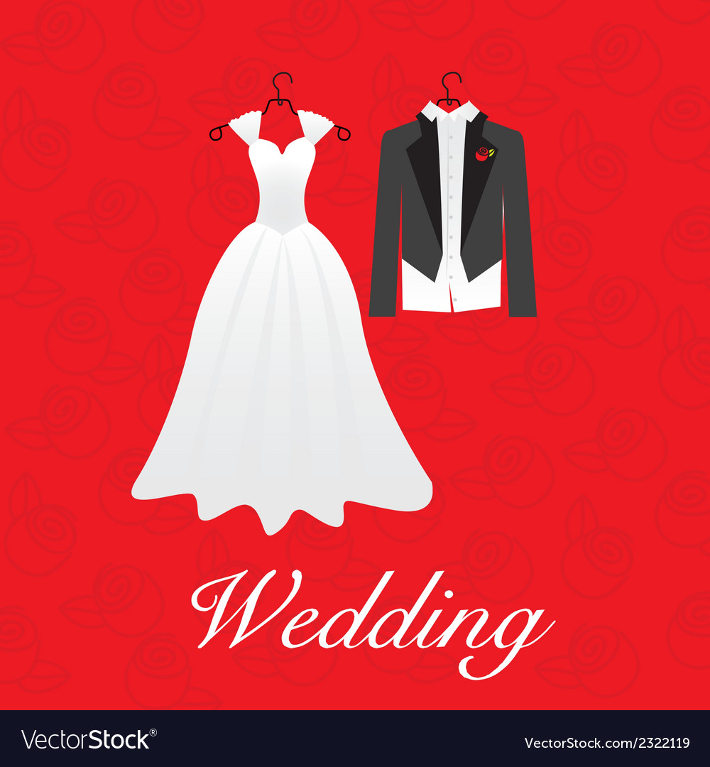 Wedding card wedding dresses Royalty Free Vector Image