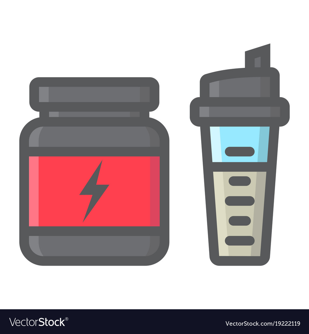 Whey protein with shaker filled outline icon