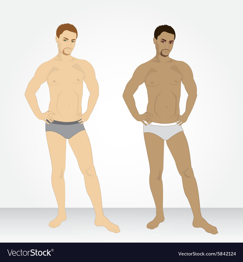 A young man in his underwear in full growth