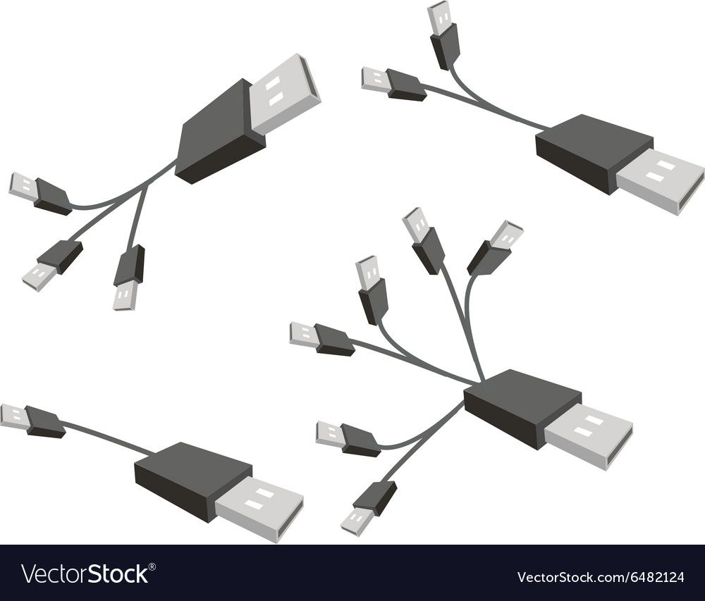 Black USB Cable on A White Background vector image