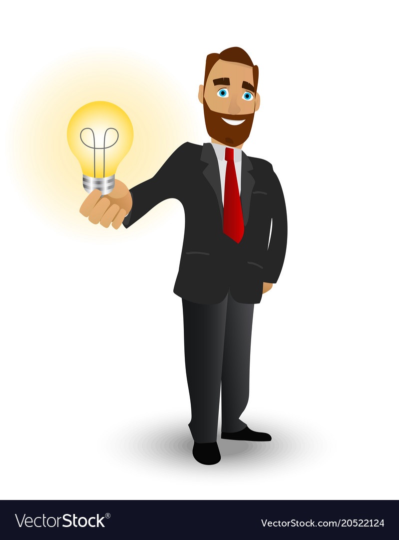 Business with a shining lamp a symbol of great