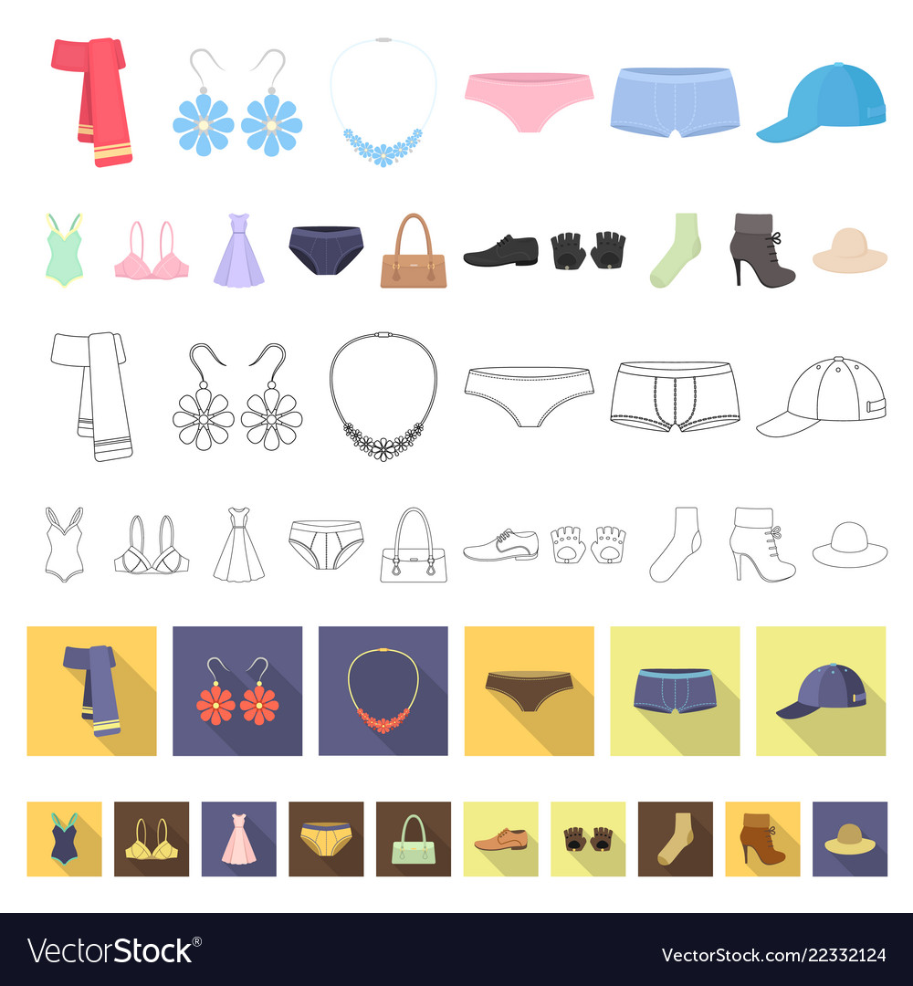 Clothes and accessories cartoon icons in set