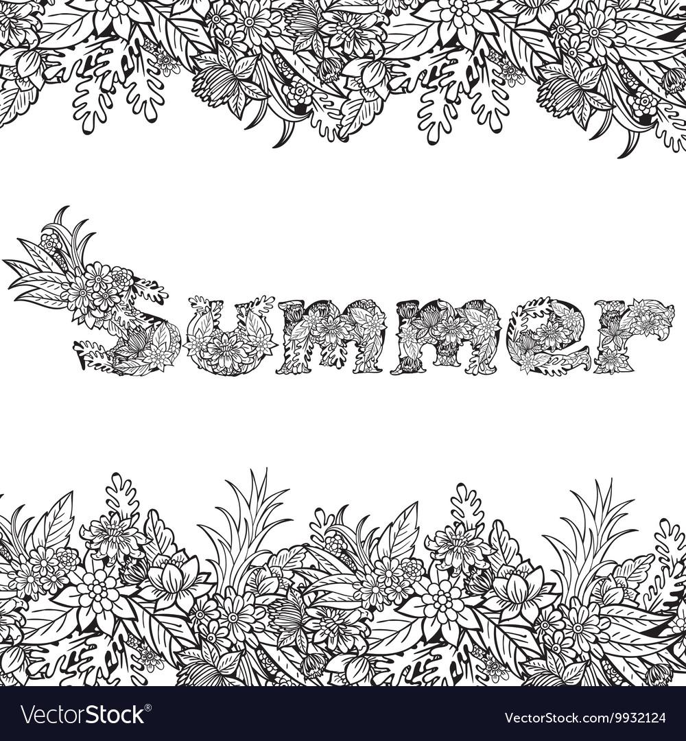 Floral card design flowers and leaf doodle
