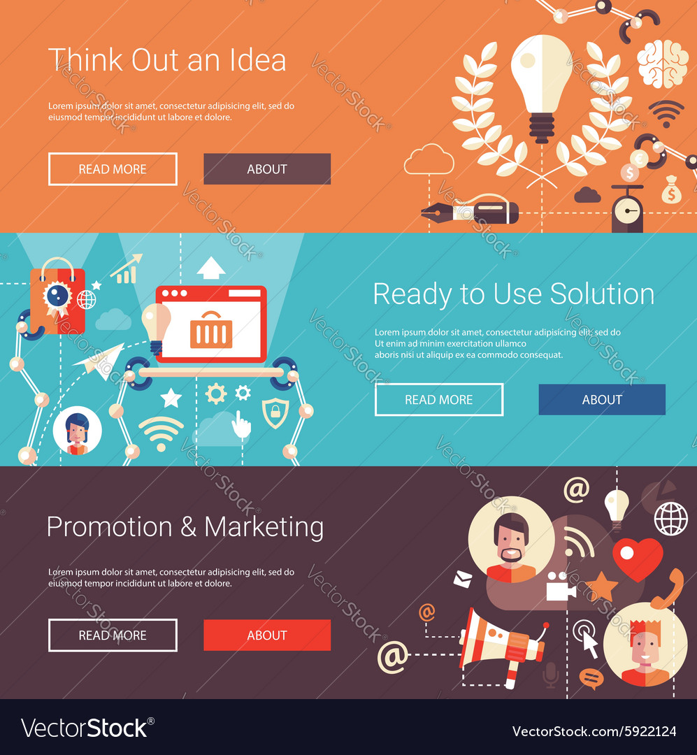 Modern flat design business headers set with icons vector image