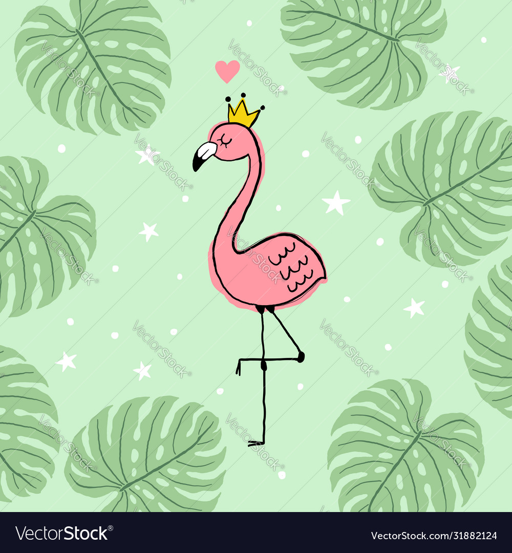 Pink flamingo and monstera leaves