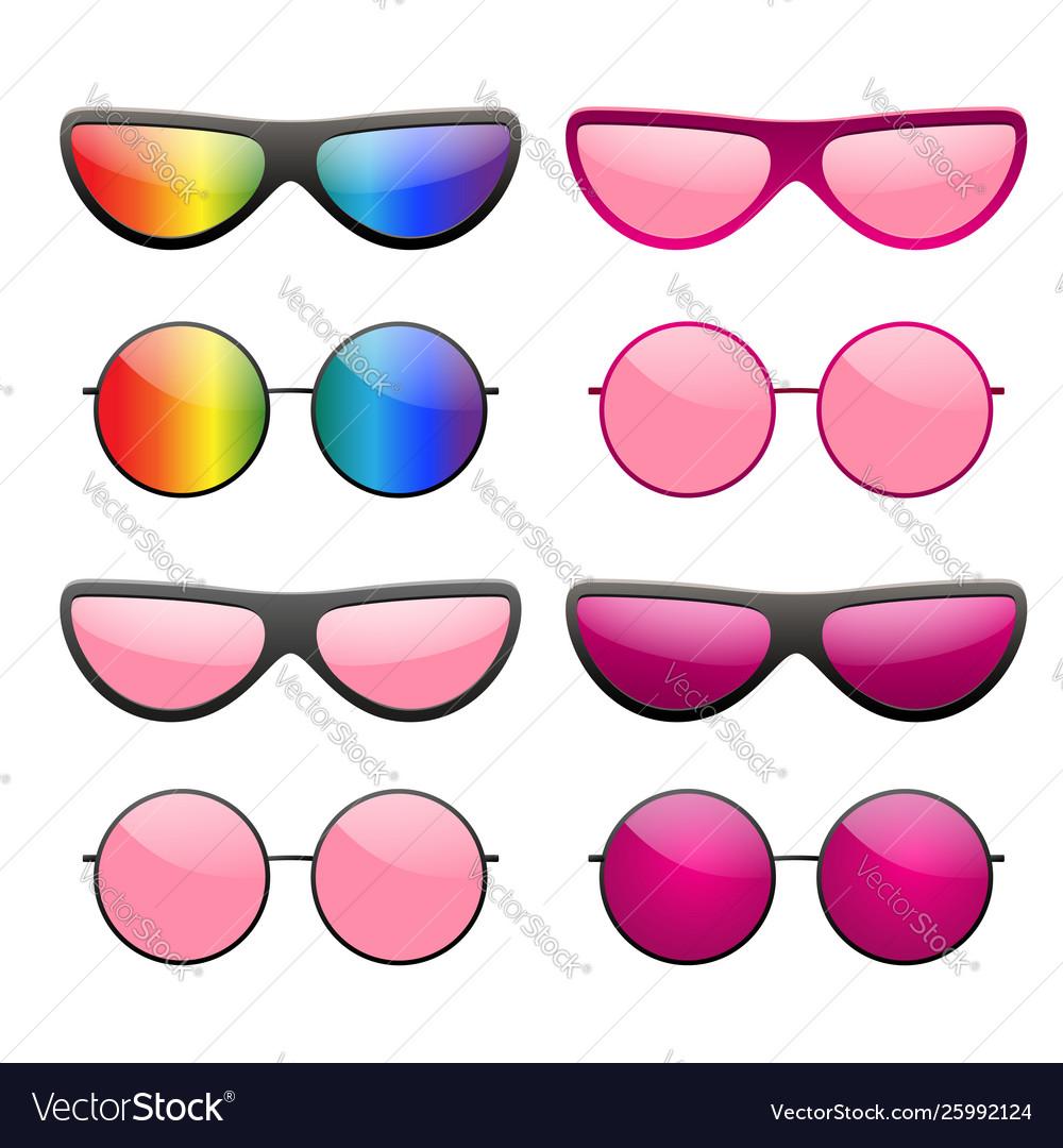 Sunglasses round icon pink rainbow sun glasses