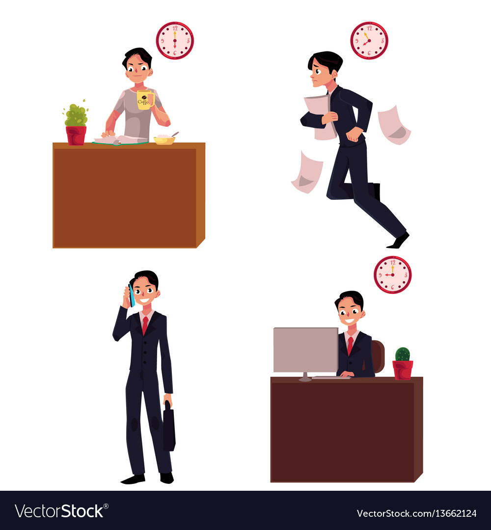 Work day typical morning of businessman career vector image