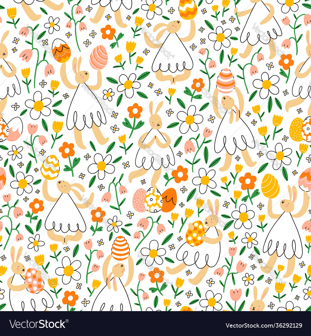 Easter bunnies with eggs in flower field pattern