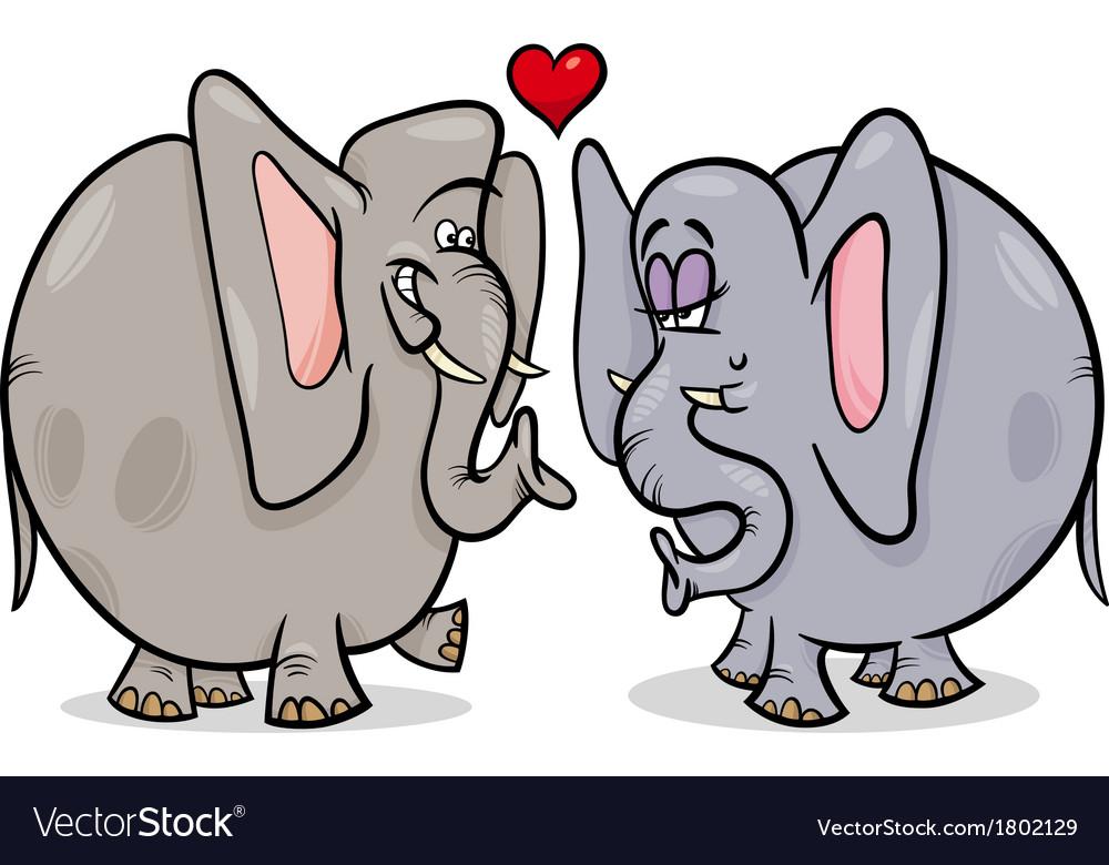 Elephants in love cartoon