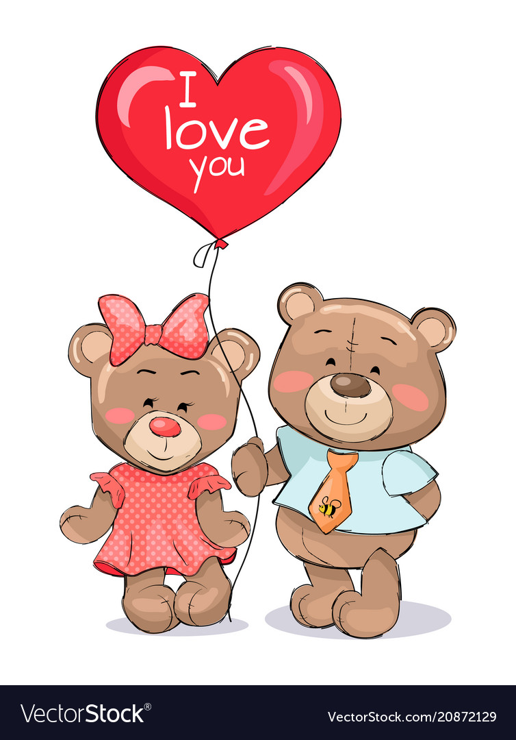 I love you heart shape balloon in hands teddy-bear