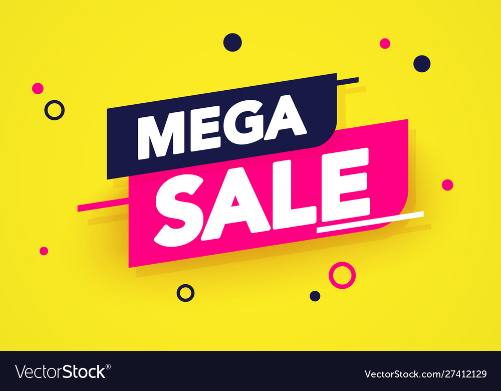 Mega sale banner colorful label and sticker design