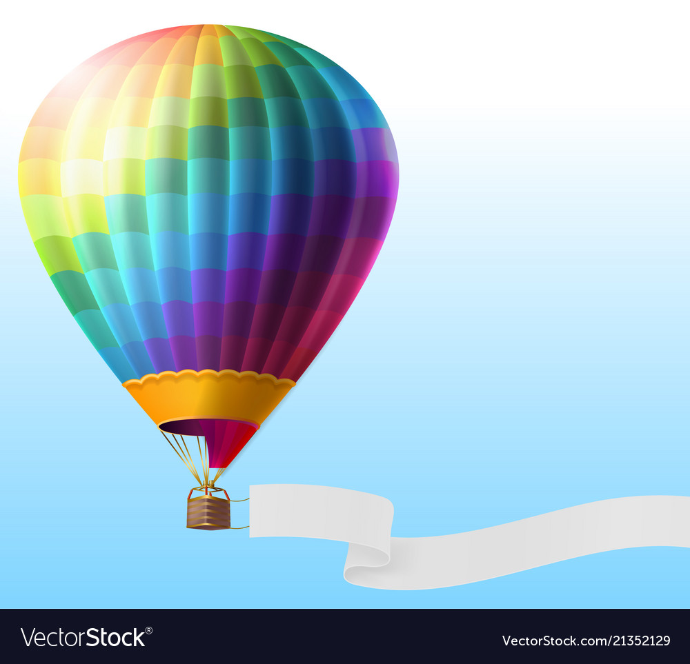 Realistic hot air balloon with blank ribbon