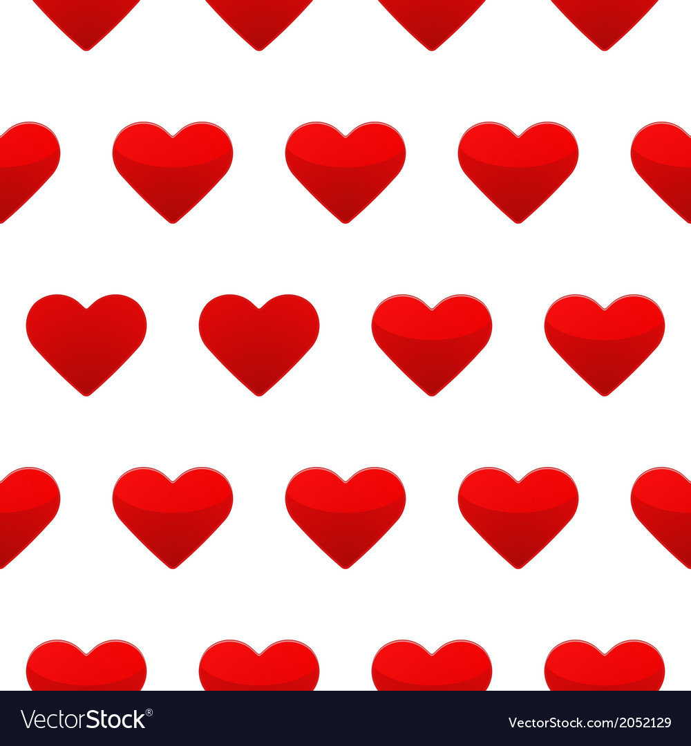Red hearts seamless pattern white background