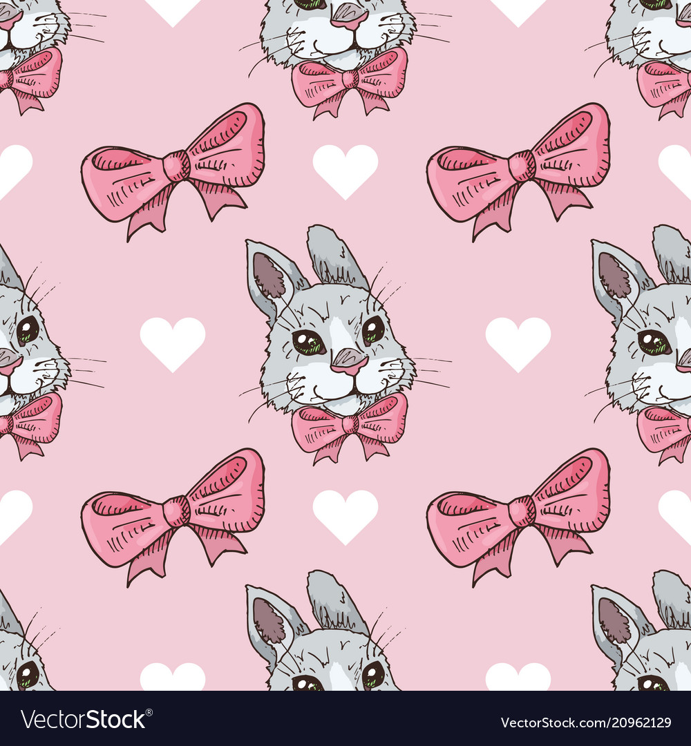Seamless pattern with rabbits bows and