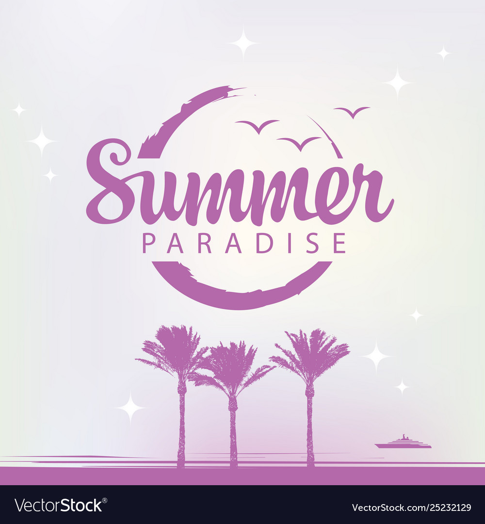 Summer travel banner with palm trees and ship