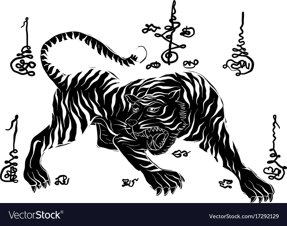 319c33b17 Tiger thai traditional painting tattoo Royalty Free Vector