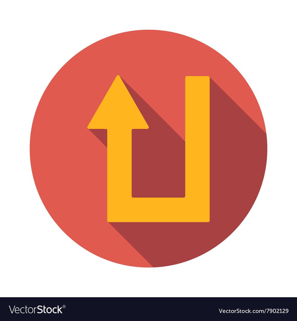 U turn icon flat style