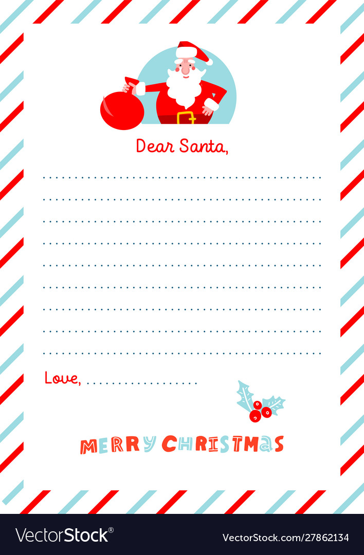 A4 christmas letter to santa claus template