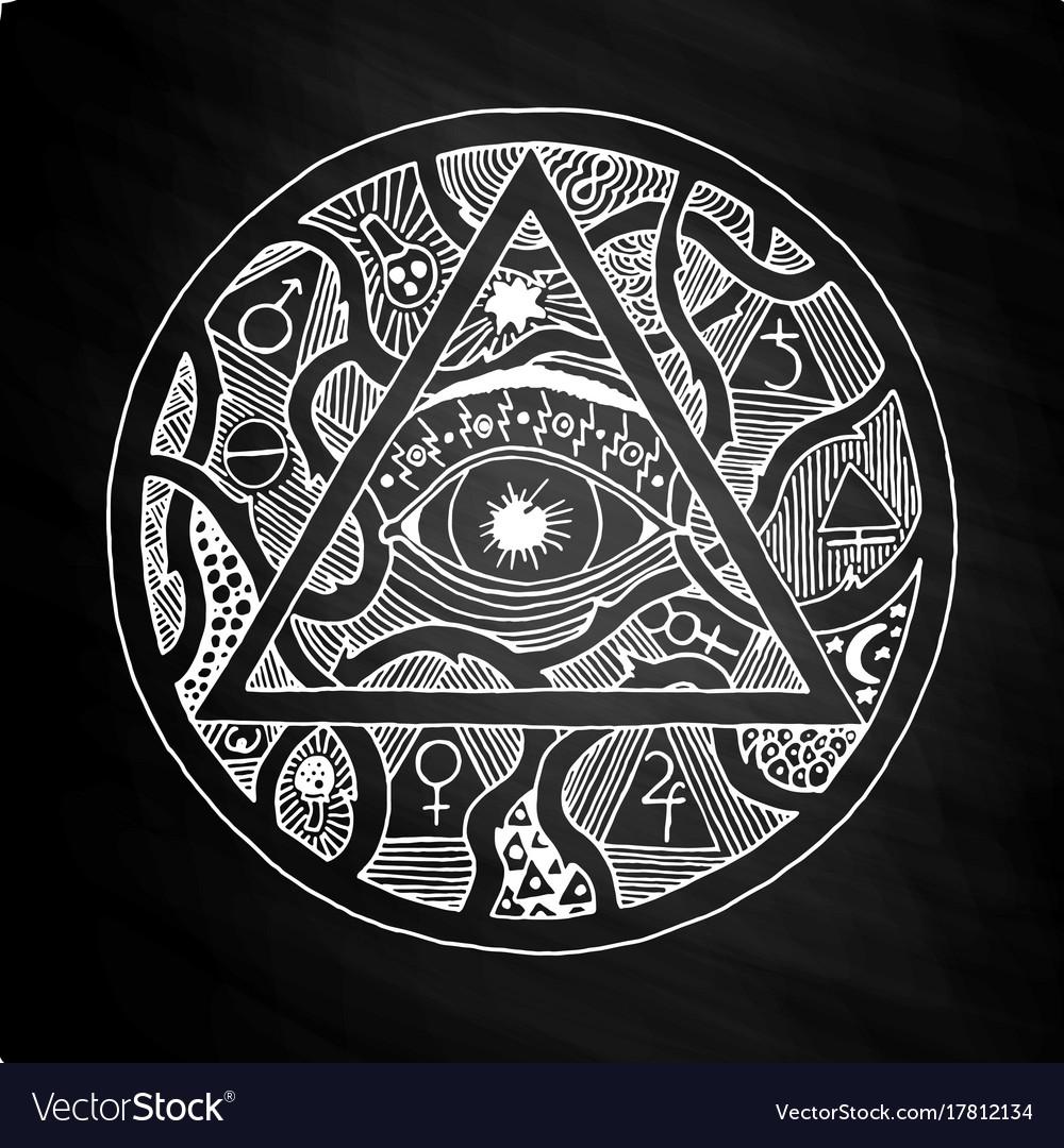 All seeing eye pyramid symbol design on chalkboard vector image