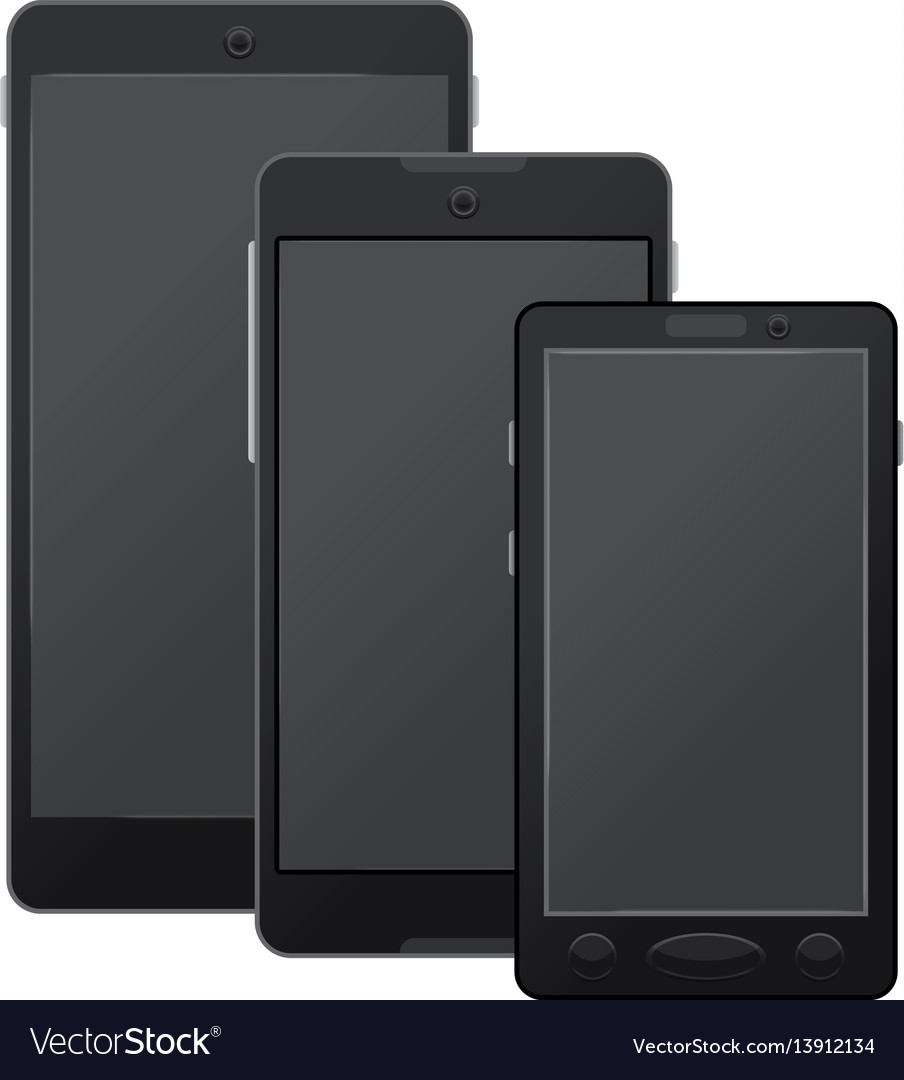 Black modern digital smartphones mockup