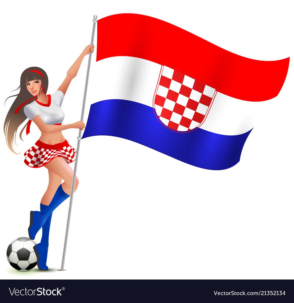Croatian girl fan rejoices in victory soccer and