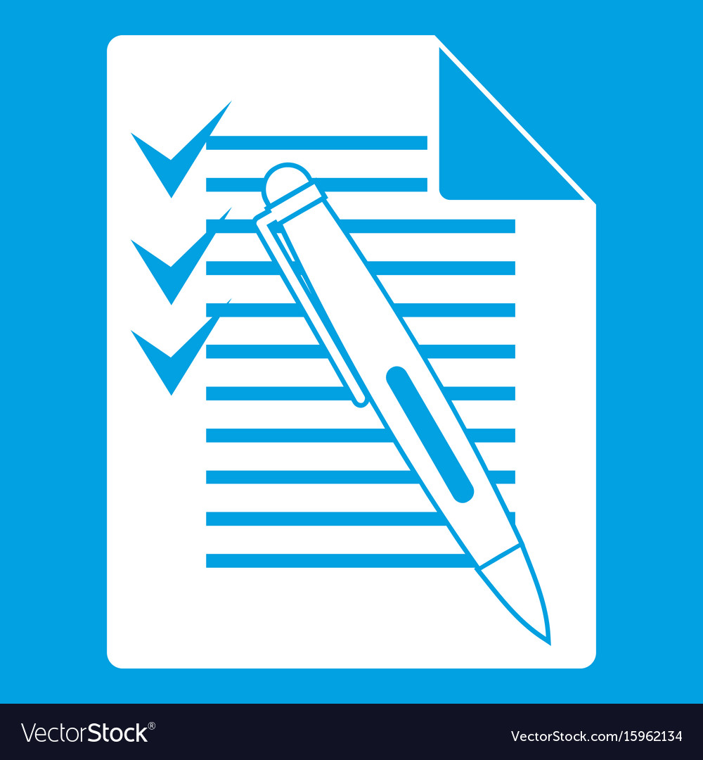 Document with plan and pen icon white vector image