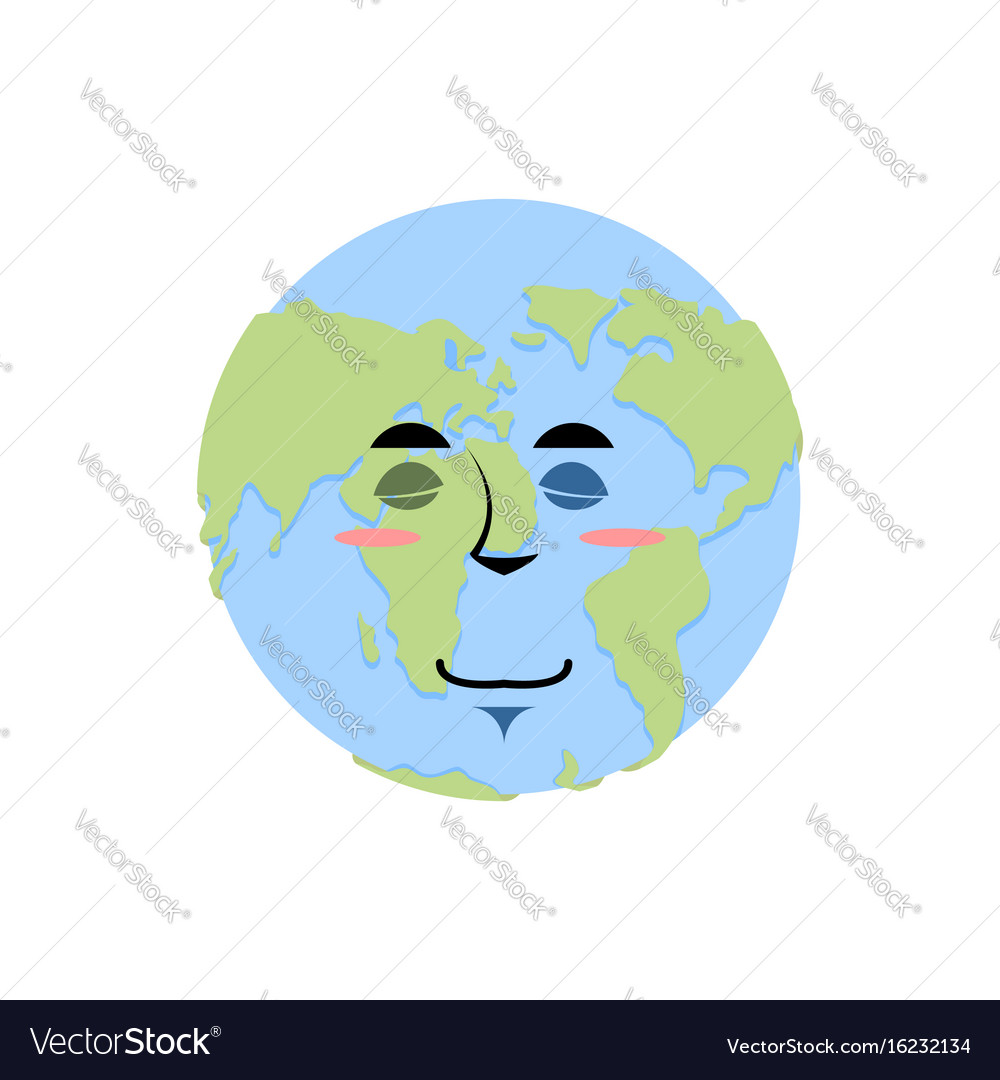 Earth sleeping emoji planet asleep emotion vector image