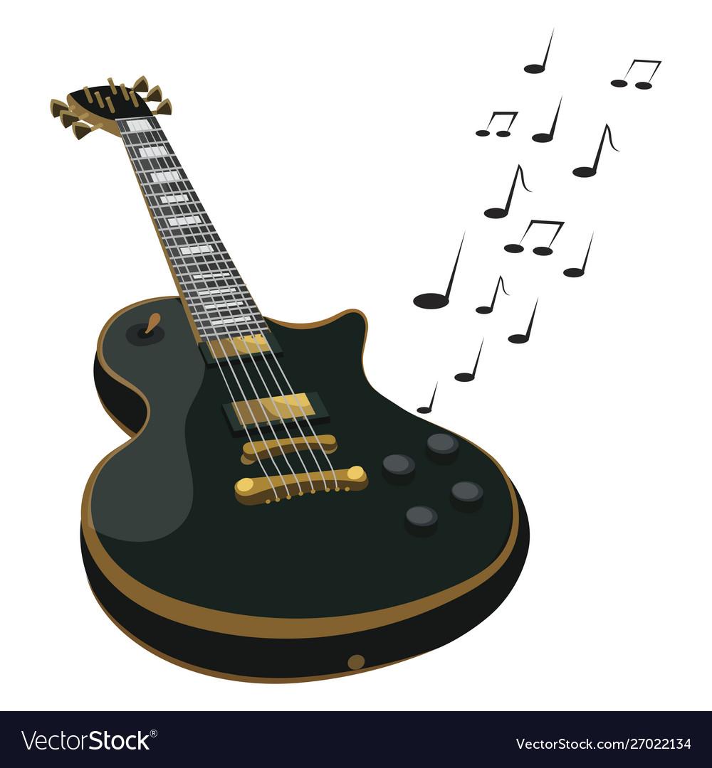 Electric guitar makes a sound colored guitar