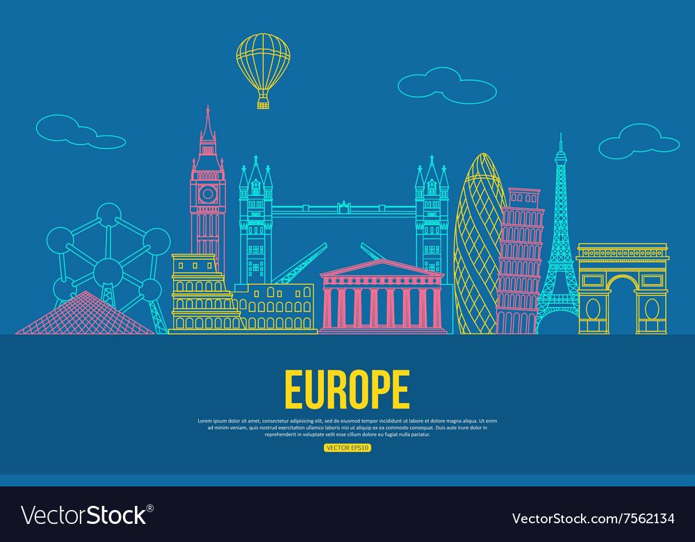 Europe travel background with place for text vector image