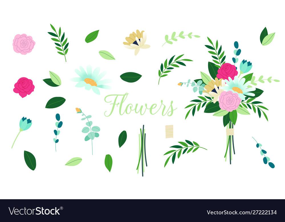 Floral bouquet design set floral branch
