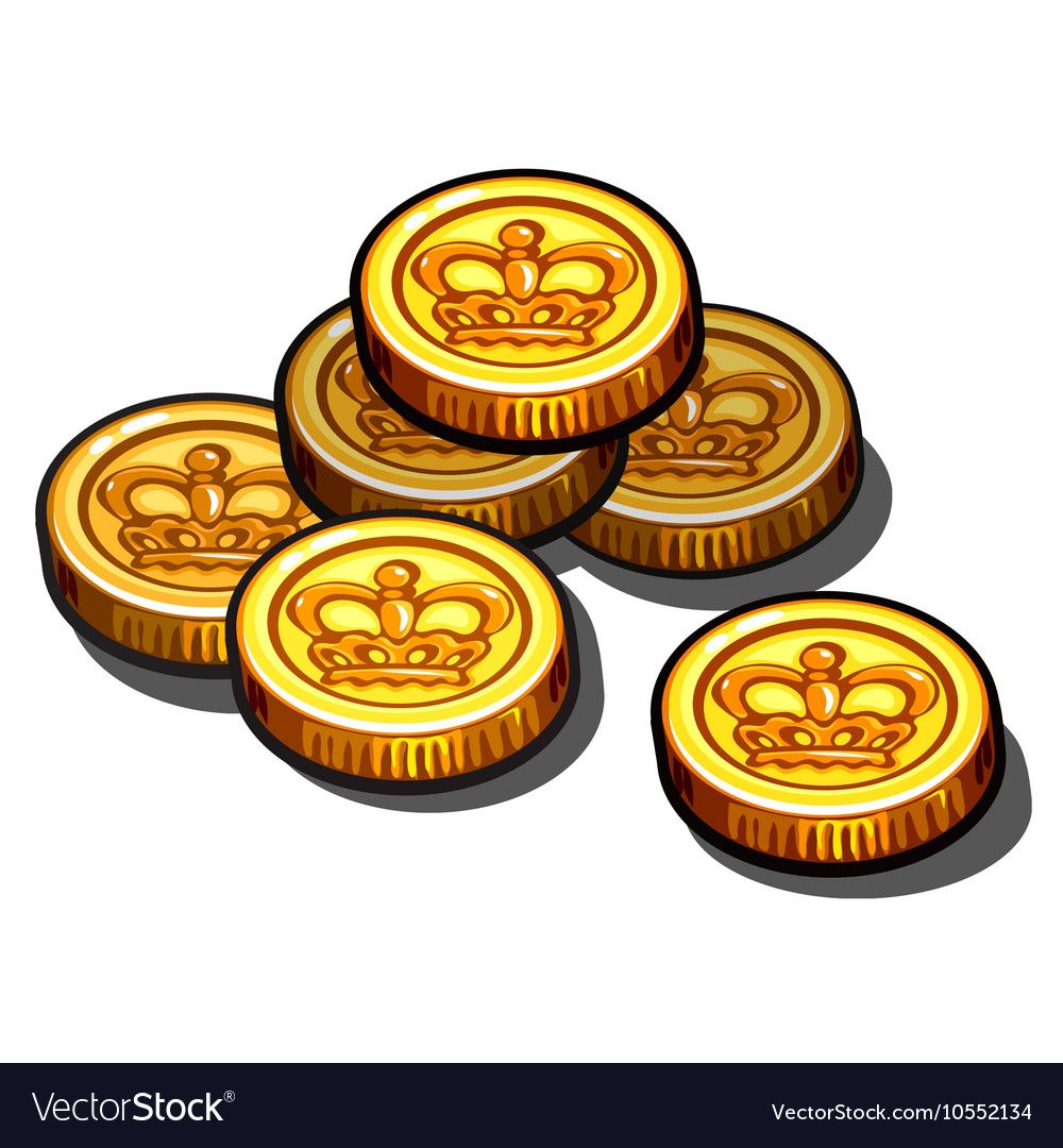 Gold coins with royal crown isolated
