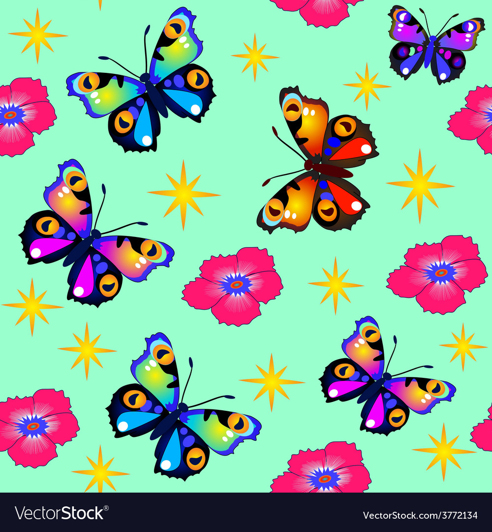Green background seamless butterfly