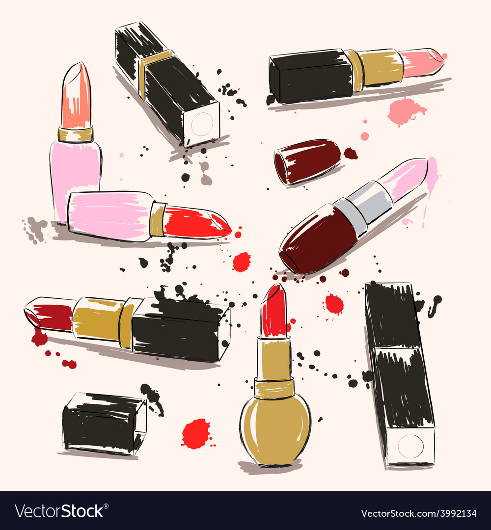 Hand drawing with lipstick