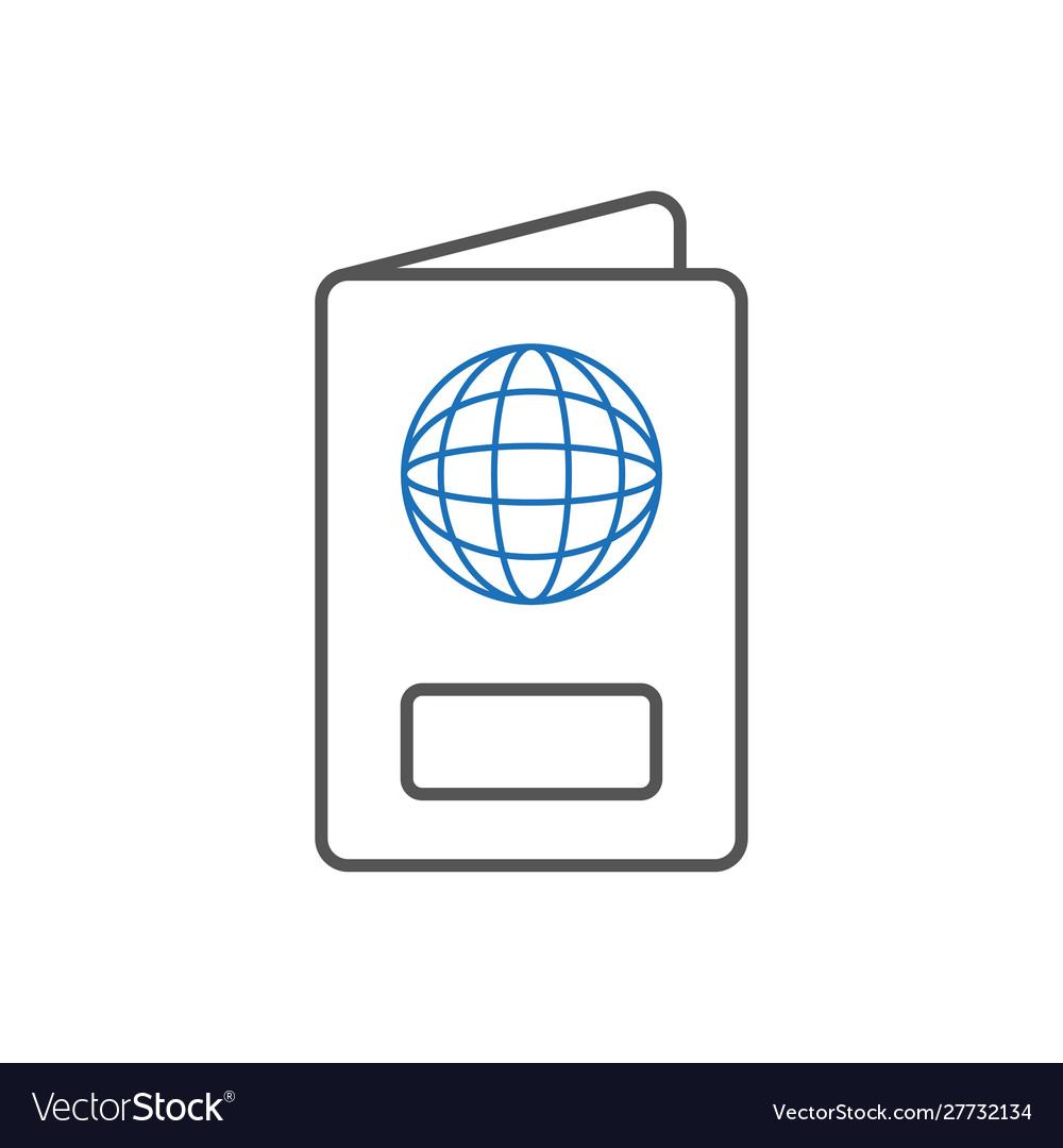 Passport icon on white background liner passport