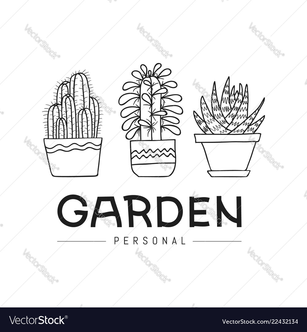 Personal garden set of hand-drawn succulent and