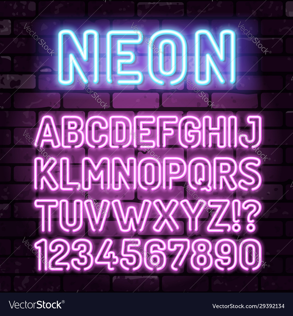 Purple neon alphabet on brick wall