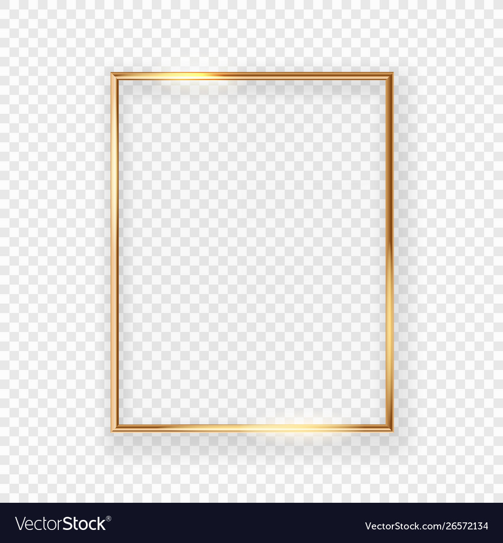 Realistic shining golden picture frame on a wall