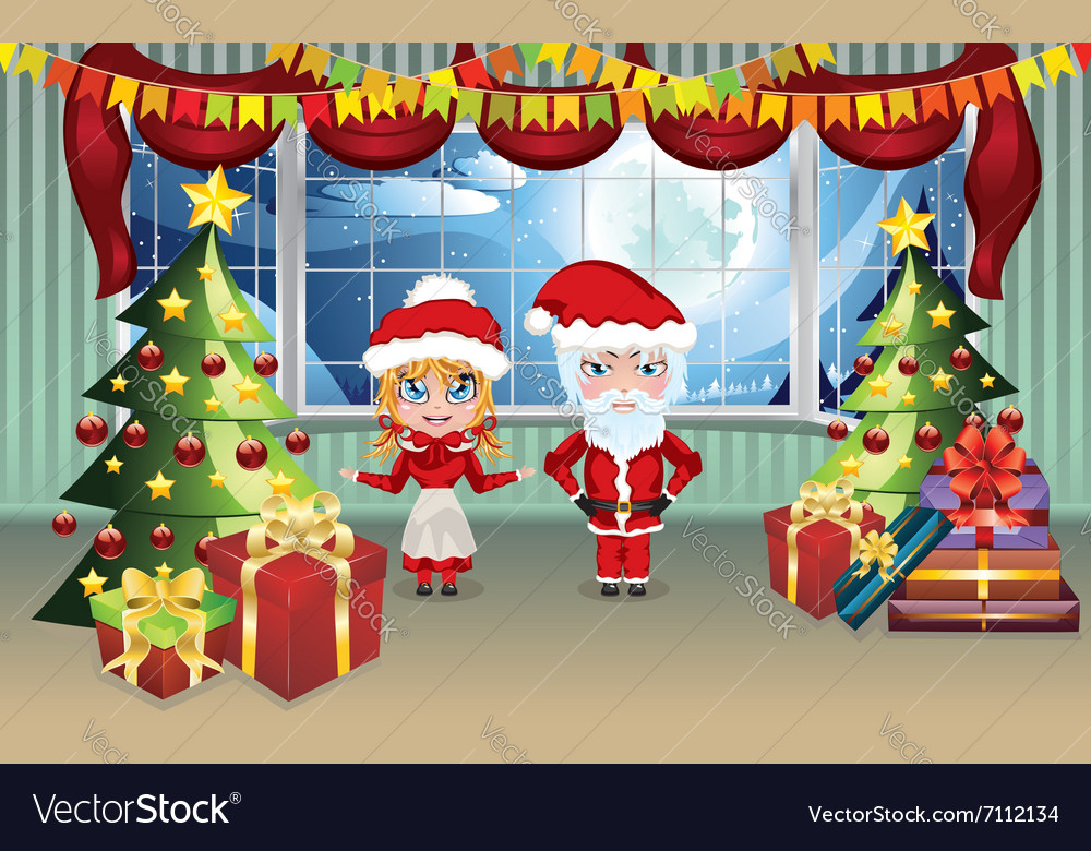 Santa And Mrs Claus In The House Vector Image