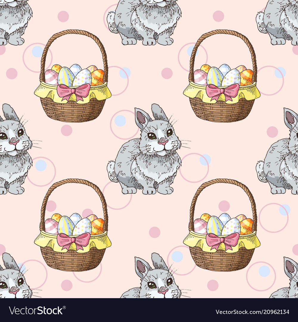 Seamless pattern with easter rabbits and baskets