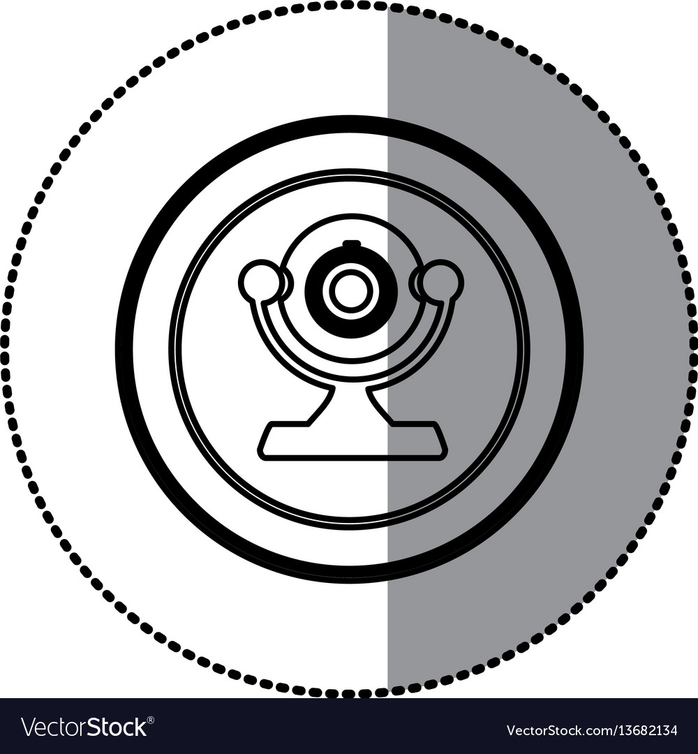 Sticker of monochrome contour of desktop webcam in vector image